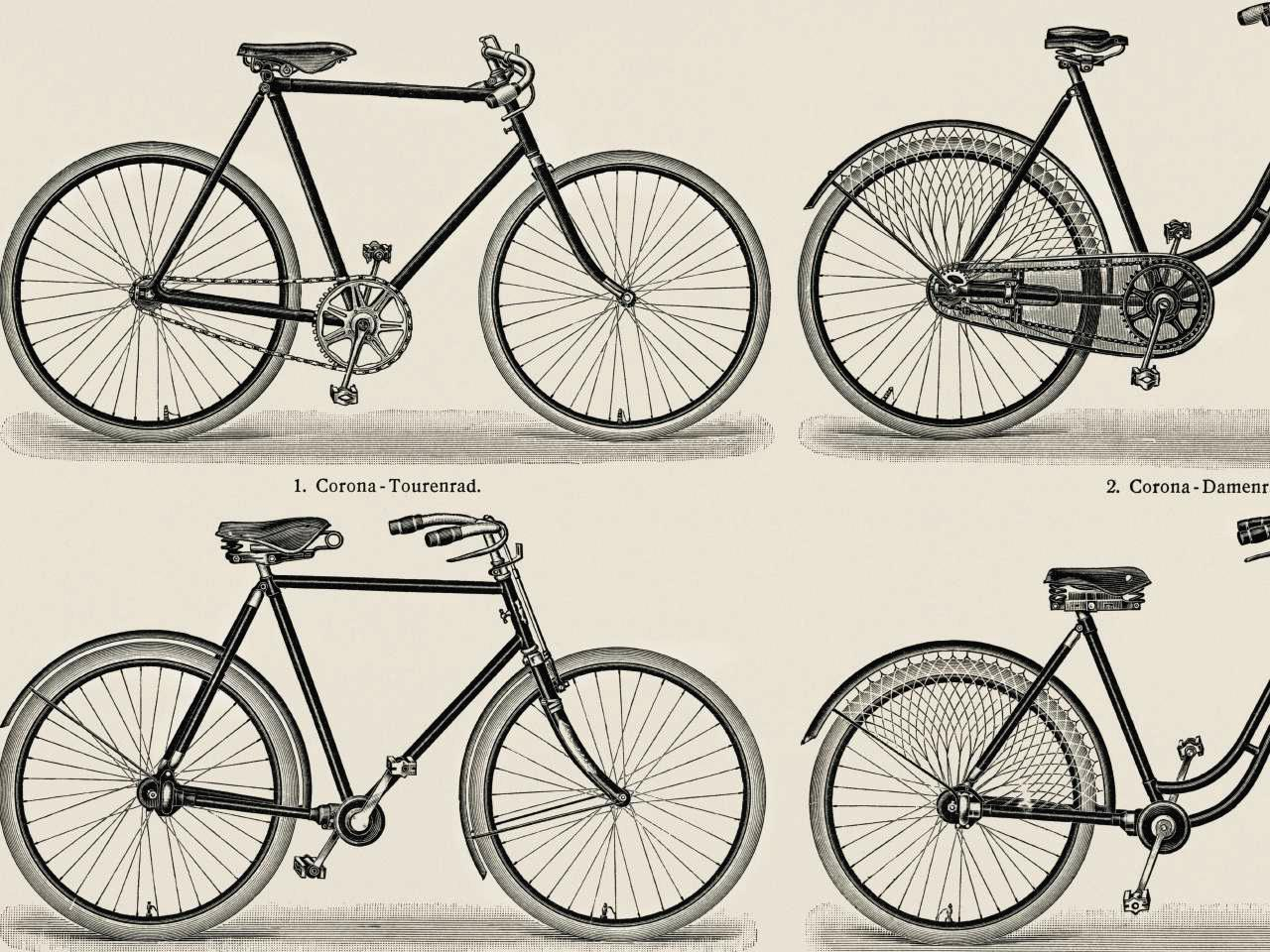 Line drawings of four antique touring bicycles.